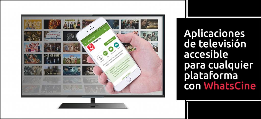 Televisión y mano sujetando móvil con app WhatsCine