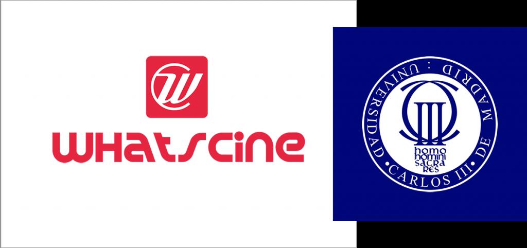 Logos de WhatsCine y la Universidad Carlos III