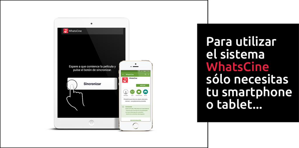 Smartphone y tablet, con la app WhatsCine funcionando