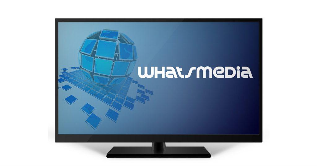 Pantalla de cine o televisión, con el logotipo de WhatsCine