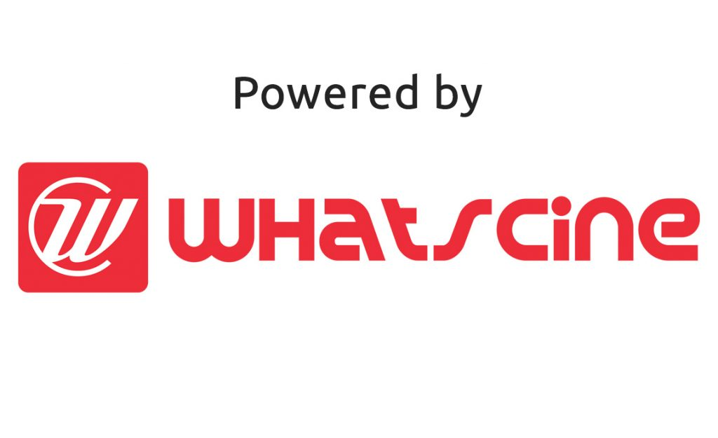 "Logotipo de WhatsCine con leyenda en inglés ""Powered by"""
